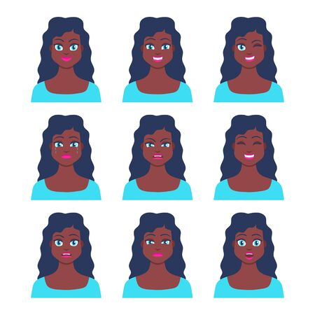 Set of young female icon with emotions in cartoon style. Girl avatar profile with facial expression. African characters portraits in bright colors. Isolated vector illustration in flat design