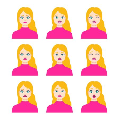 Set of young female icon with emotions in cartoon style. Girl avatar profile with facial expression. Characters portraits in bright colors. Isolated vector illustration in flat design Foto de archivo - 133739414