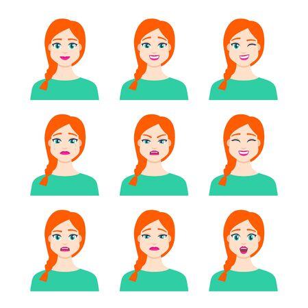 Satz der jungen weiblichen Ikone mit Emotionen im Cartoon-Stil. Mädchenavatarprofil mit Gesichtsausdruck. Charakterporträts in leuchtenden Farben. Isolierte Vektorillustration im flachen Design Vektorgrafik