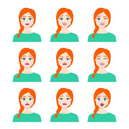 Set of young female icon with emotions in cartoon style. Girl avatar profile with facial expression. Characters portraits in bright colors. Isolated vector illustration in flat design Foto de archivo - 133739406
