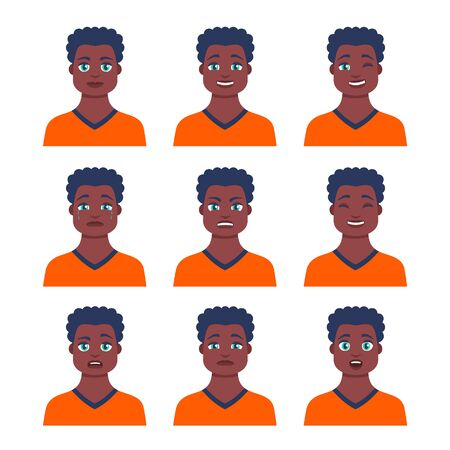 Set of young male icon with emotions in cartoon style. Man avatar profile with facial expression. African characters portraits in bright colors. Isolated vector illustration in flat design Ilustración de vector