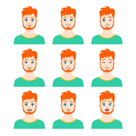 Set of young male icon with emotions in cartoon style. Man avatar profile with facial expression. Characters portraits in bright colors. Isolated vector illustration in flat design Vektorgrafik