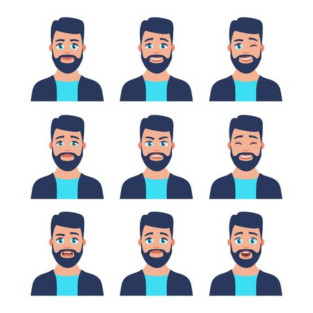 Set of young male icon with emotions in cartoon style. Man avatar profile with facial expression. Characters portraits in bright colors. Isolated vector illustration in flat design Vector Illustratie