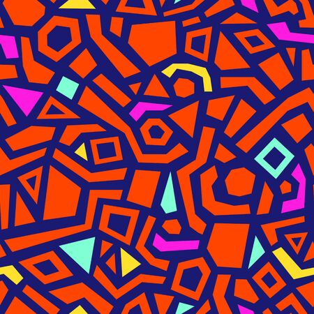 Abstract seamless pattern with hand drawn various shapes. Contemporary geometric background for print, design, fabric. Vector illustration