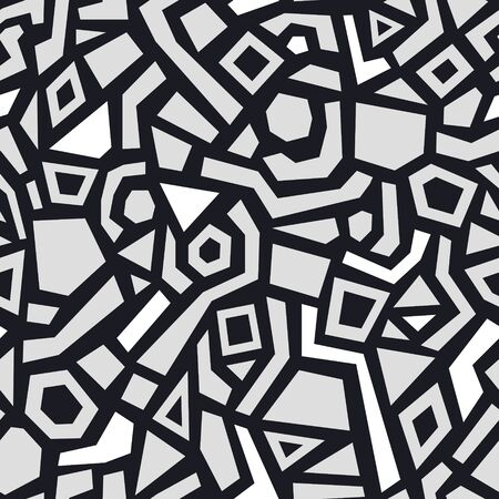 Abstract black and white seamless pattern with hand drawn various shapes. Contemporary monochrome geometric background for print, design, fabric. Vector illustration