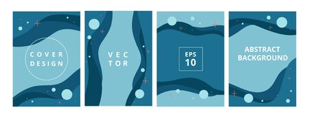 Set of modern abstract blue background in flat style design for branding. Minimal pastel cover design with fluid wavy shapes. Minimalistic banners with space for text and title. Vector illustration Stockfoto - 138475813