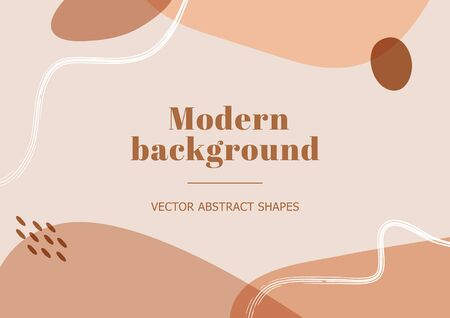 Modern and stylish template with organic abstract shapes in pastel colors. Neutral beige and terracotta background in Scandinavian style. Burnt orange contemporary collage. Vector Illustration