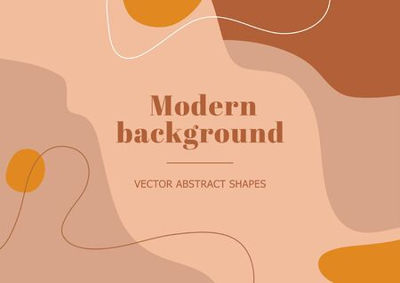 Fashion stylish template with organic abstract shapes and line in pastel colors. Neutral beige, terracotta background in boho style. Burnt orange contemporary collage. Vector Illustration