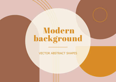 Abstract stylish templates with geometric shapes and line in pastel colors. Neutral background in minimalist style. Contemporary vector Illustration