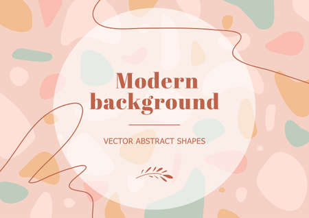 Stylish template with terrazzo background in pastel colors. Modern background in minimalist style with space for text. Contemporary vector Illustration