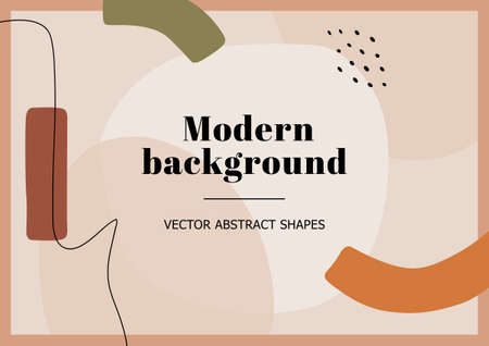 Fashion stylish templates with organic abstract shapes and line in pastel colors. Neutral background in minimalist style. Contemporary vector Illustration