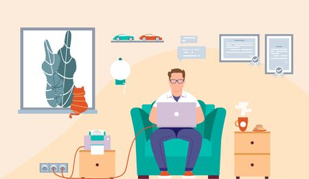 Flat design of an office or freelance worker. Businessman. Vector illustration. Man sitting in the chair and working on the desk. Laptop. Flat trendy stylish workplace. Co-workers.