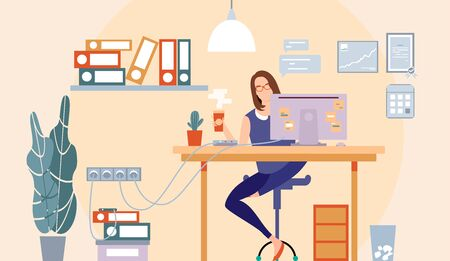 Cool flat design of a freelance worker. Woman business. Girl sitting on the desk drinking coffee and working. Vector illustration. Office room view. Flat trendy stylish design. Details Ilustração