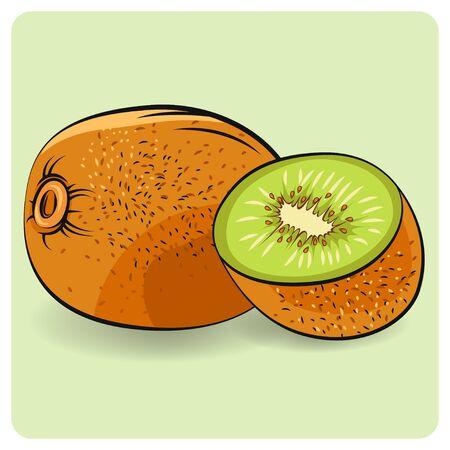 Kiwi fruit food slice icon. Kiwi illustration on white. Flat kiwi.
