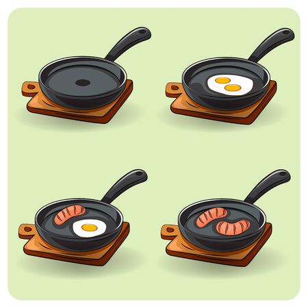 Fried egg on a frying pan. Frying pan with scrambled egg. Food vector illustration Çizim
