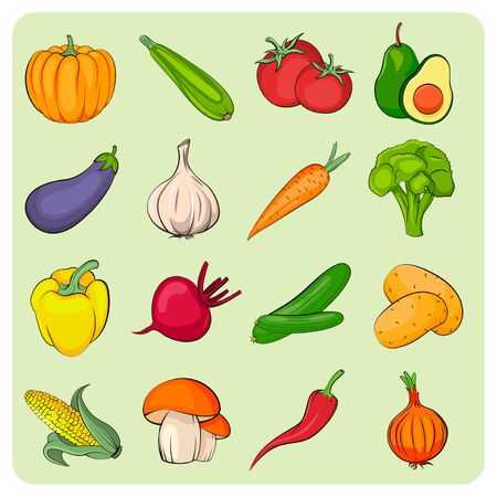 Vegetables icons set. Vegetables collection. Flat vector vegetables.