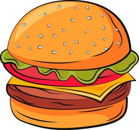 Burger vector illustration. Vector burger in vibrant colors. Food illustration.