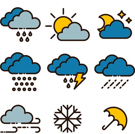 Set of weather icons. Meteorology icons flat style. Outline