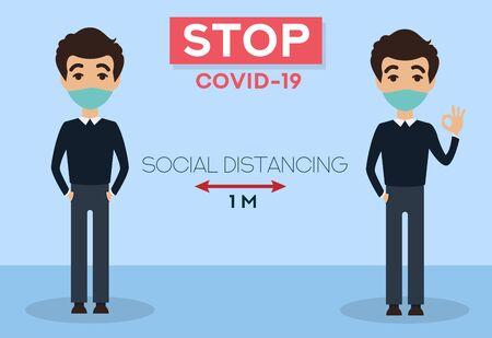 Stop coronavirus. COVID-19. Social distancing. People wearing mask. People in medical protective mask. Ilustración de vector