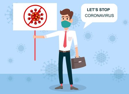 Stop coronavirus. COVID-19. People wearing mask. People in medical protective mask. Ready to print. Template. Web banner