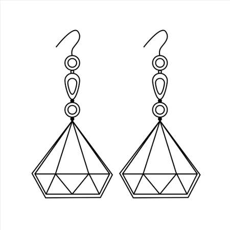 Jewelry Earrings Fashion Black and White Outline Coloring page. Simple line art. Doodle earrings. Women accessories. 矢量图像