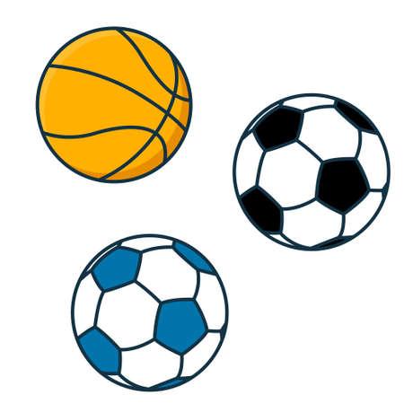 Flat sports balls vector set. soccer and baseball, football game isolated Vektorové ilustrace