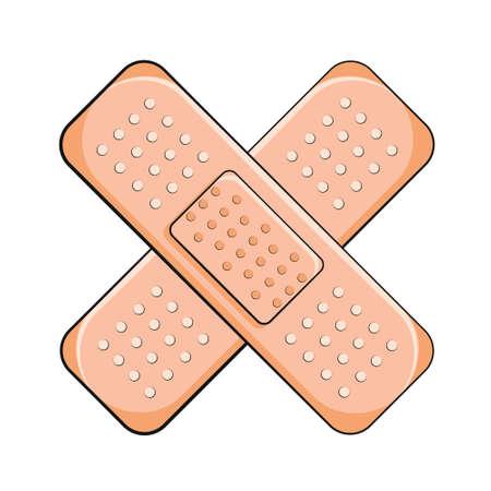 Adhesive bandage elastic medical plasters. First Aid Band Plaster Vector illustration. Adhesive plaster isolated vector illustration 向量圖像