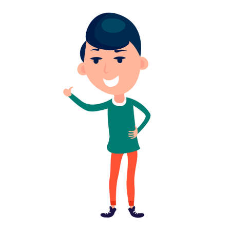 Happy people making thumbs up sign. Happy person Thumb lifted up. Showing approval gesture. Flat vector style illustration.