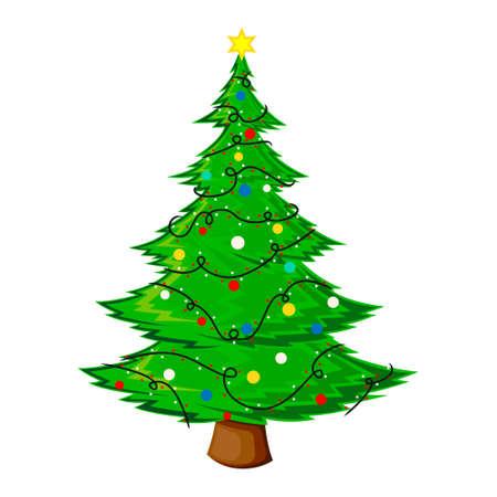 Christmas tree flat vector illustration. New Years and Christmas symbol. Christmas tree icon. Vektorgrafik