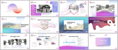 Clean and minimal presentation templates. Colorful elements on white background for your portfolio. Brochure cover vector design. Presentation slides for flyer, leaflet, brochure, report, advertising Vectores
