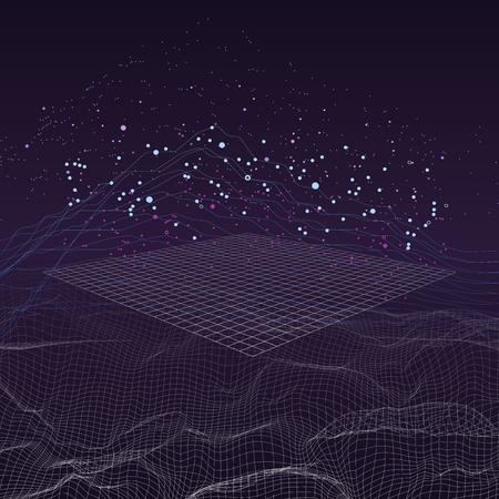 Big data stream futuristic infographic on digital cyber surface.
