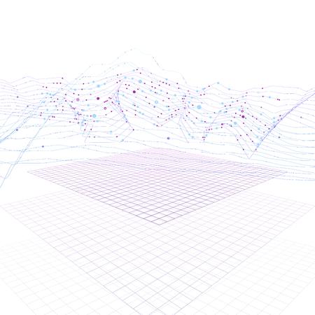 Graphique d'informations futuristes de flux de données volumineuses sur la surface cyber numérique. Informatique quantique, cryptographie, graphique d'informations de technologies à la pointe de la technologie. Visualisation 3D Big Data. Conception de vecteur de données visuelles abstraites Vecteurs