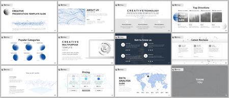 Clean and minimal presentation templates. Tech elements on white background. Technology concept vector design. Presentation slides for flyer, leaflet, brochure, report, marketing, advertising, banner