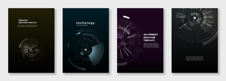 Minimal brochure templates. Circle elements on dark background. Technology sci-fi concept, abstract vector design. Templates for flyer, leaflet, brochure, report, presentation, advertising Illustration
