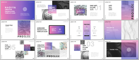 A Minimal presentations, portfolio templates. Blue elements on a white background.