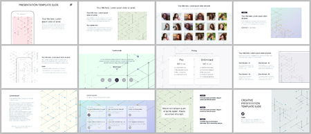 Minimal presentations, portfolio templates. Presentation slides for flyer, brochure, report. Line art pattern with connecting lines. Abstract geometric background. Technology, digital network concept