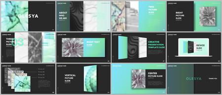 Minimal presentations design, portfolio vector templates with elements on black background. Multipurpose template for presentation slide, flyer leaflet, brochure cover, report, marketing, advertising.
