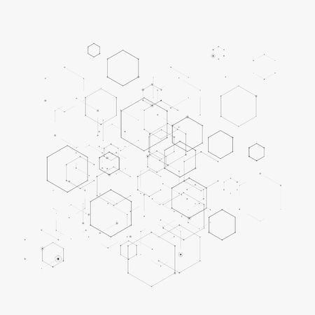 Abstract vector illustration with hexagons, lines and dots on white background. Hexagon infographic. Digital technology, science or medical concept. Hexagonal geometric vector background