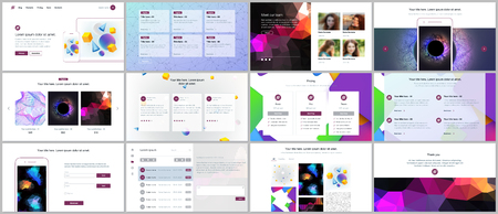 Vector templates for website design, minimal presentations, portfolio with vibrant geometric backgrounds made simple shapes in hipster style. UI, UX, GUI. Design of headers, features page, blog etc Vetores