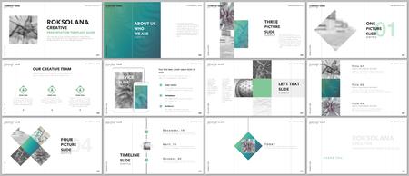 Diseño de presentaciones mínimas, plantillas vectoriales de cartera con elementos sobre fondo blanco. Plantilla multipropósito para diapositivas de presentación, folletos, portadas de folletos, informes, marketing, publicidad. Ilustración de vector