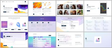 Vektorvorlagen für Website-Design, minimale Präsentationen, Portfolio mit geometrischen bunten Mustern, Verläufen, fließenden Formen. UI, UX, GUI. Design von Headern, Dashboards, Seitenblogs usw.