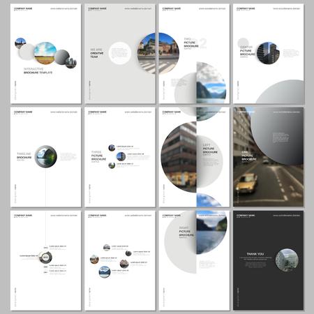Minimalne szablony broszur z kolorowymi kształtami gradientu, kołami, okrągłymi elementami na białym tle. Obejmuje szablony projektów ulotki, ulotki, broszury, raportu, prezentacji, reklamy, czasopisma.