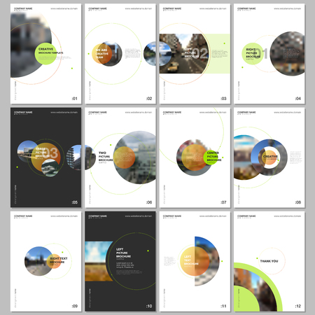 Minimal brochure templates with circle elements on white background. Templates for flyer, leaflet, brochure, report, presentation, advertising