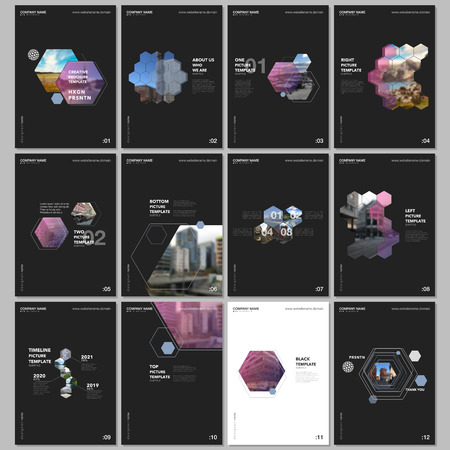Minimal brochure templates with hexagons and hexagonal elements on black background. Covers design templates for flyer, leaflet, brochure, report, presentation, advertising, magazine