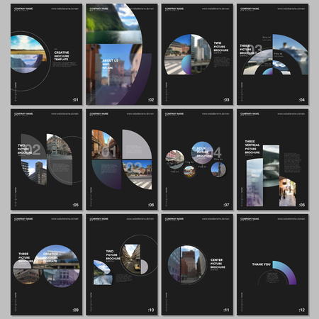 Minimal brochure templates with colorful circles, round elements on black background. Covers design templates for flyer, leaflet, brochure, report, presentation, advertising, magazine Çizim