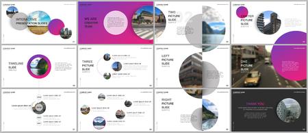 Minimales Präsentationsdesign, Portfoliovektorvorlagen mit rosa bunten Kreiselementen auf weißem Hintergrund. Mehrzweckvorlage für Präsentationsfolie, Flyer, Broschürencover, Bericht.