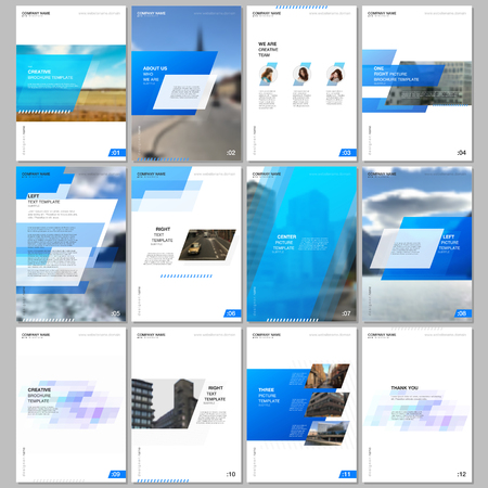 Creative brochure templates with colorful gradient geometric background. Blue colored design. Covers design templates for flyer, leaflet, brochure, report, presentation, advertising, magazine Ilustración de vector