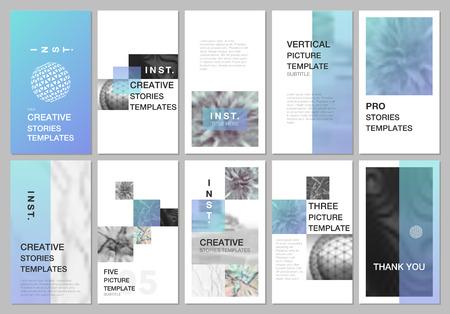 Kreatywne projektowanie opowieści w sieciach społecznościowych, pionowe banery lub szablony ulotek z kolorowymi gradientowymi tłem. Obejmuje szablony projektów ulotki, ulotki, broszury, prezentacji, reklamy