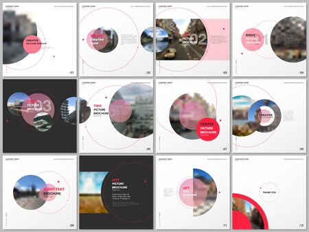 Minimal brochure templates with red color circles, round shapes. Covers design templates for square flyer, leaflet, education brochure, report, presentation, advertising, magazine, school project Illusztráció