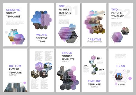Creative social networks stories design, vertical banner or flyer templates with hexagones and hexagonal shapes on white background. Covers design templates for flyer, leaflet, brochure, presentation.  イラスト・ベクター素材